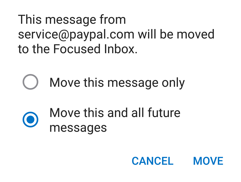 Screenshot of Outlook App move to screen
