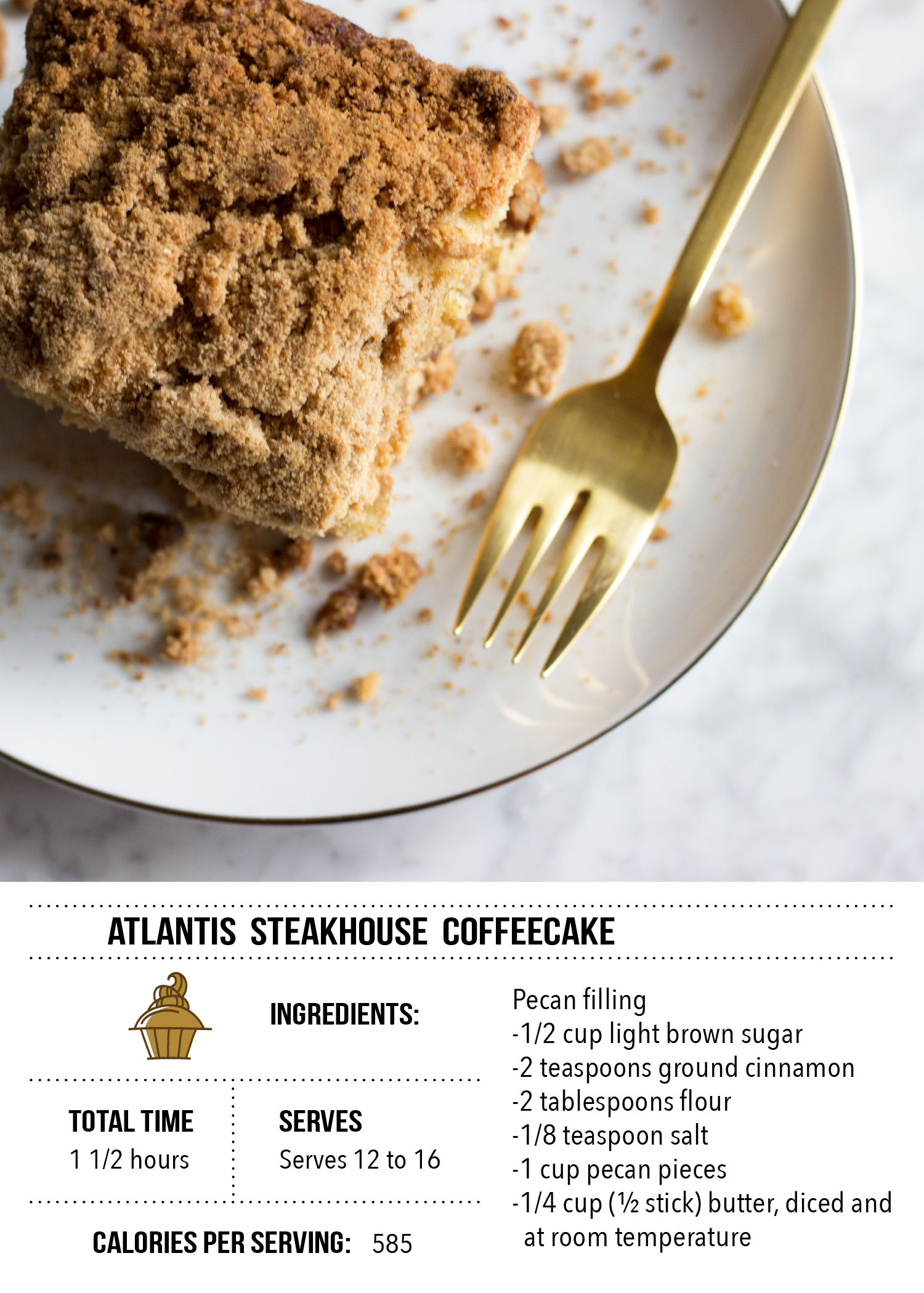 Atlantis Steakhouse Coffeecake Recipe Card
