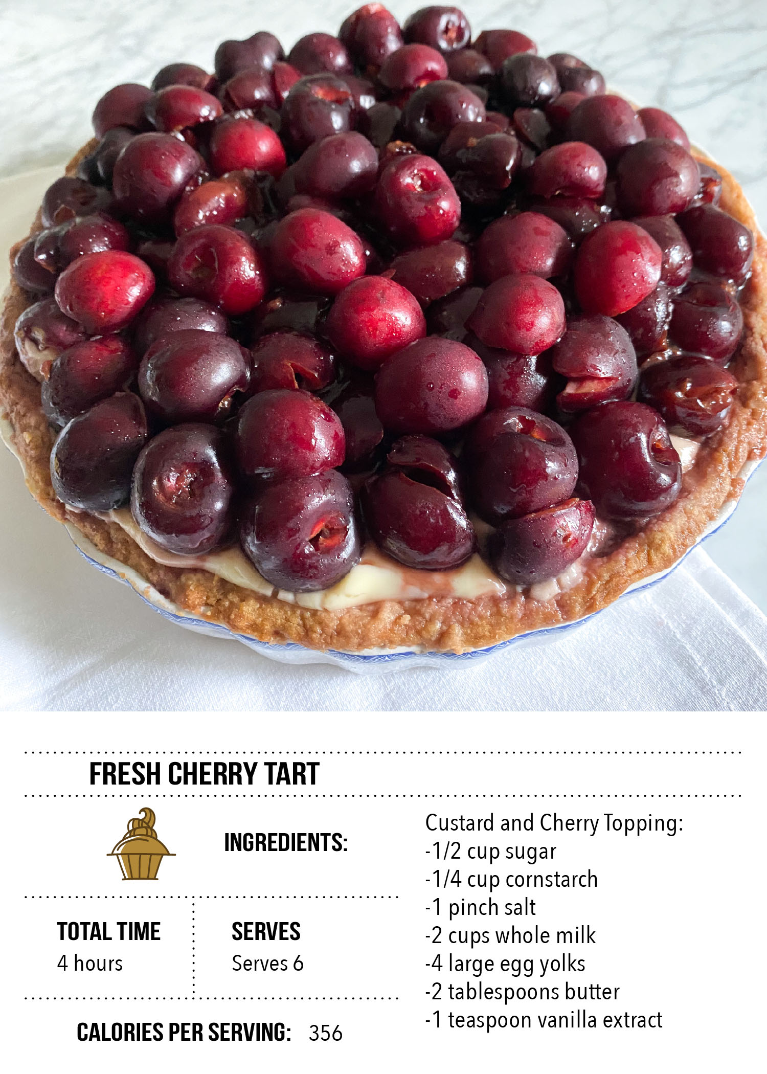 Fresh Cherry Tart Recipe Card