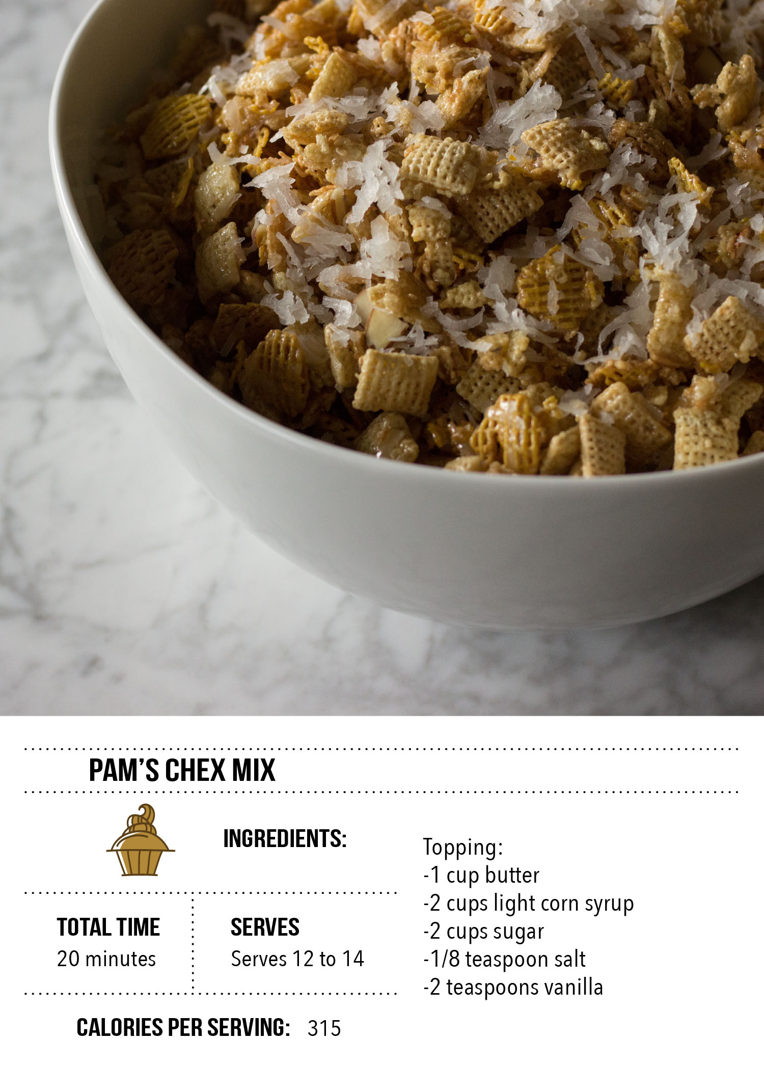 Pam's Chex Mix Recipe Card